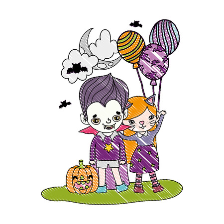 grated girl and boy costumes with balloons and pumpkin vector illustration Vectores