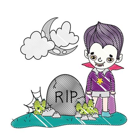 grated happy vampire boy costume with rip stone vector illustration Ilustração