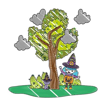 grated girl with pumpkin costume with cat wearing hat vector illustration Ilustração