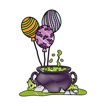 grated pot cauldron food with funny balloons vector illustration