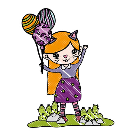 grated happy girl with kitten costume and balloons vector illustration