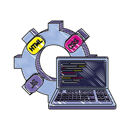 grated industry gear and loptop code program vector illustration