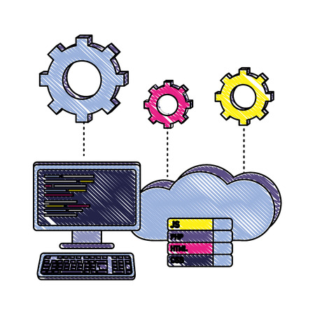 grated computer programming code and cloud data with gears vector illustration