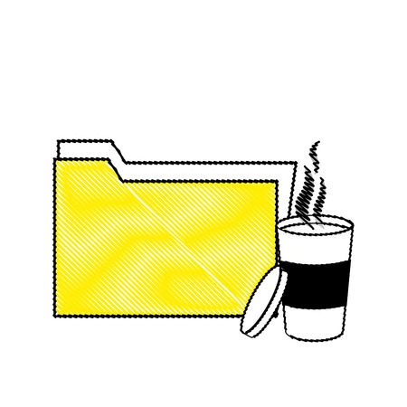 grated folder file archive and hot coffee vector illustration