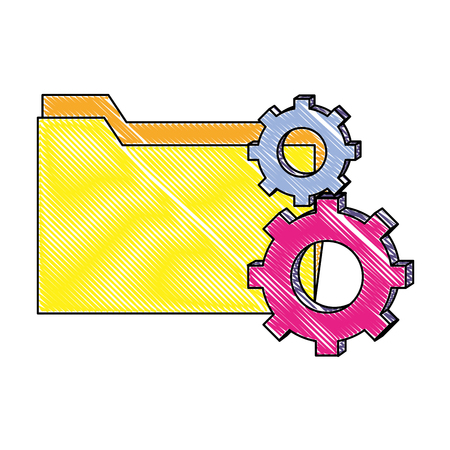 grated folder file and industry gears process vector illustration