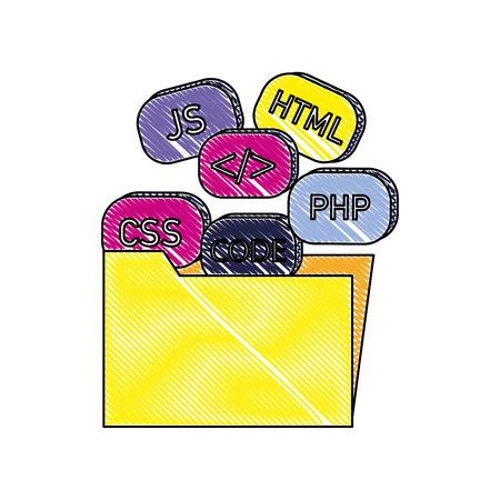 grated folder file with programming code technology vector illustration Ilustração