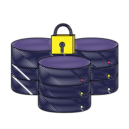 grated data network server and closed padlock vector illustration