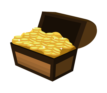 wooden chest box with gold coins vector illustration Illustration