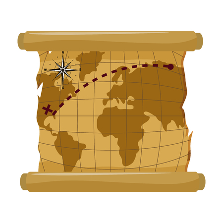 global map with america location explore vector illustration Vetores