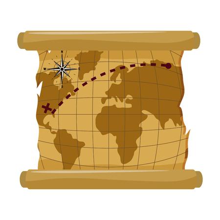 Mapa global con ubicación de América explorar ilustración vectorial Ilustración de vector
