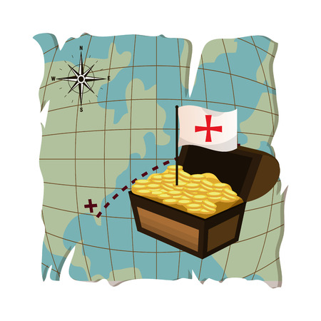 global map and chest with gold coins and flag cross vector illustration