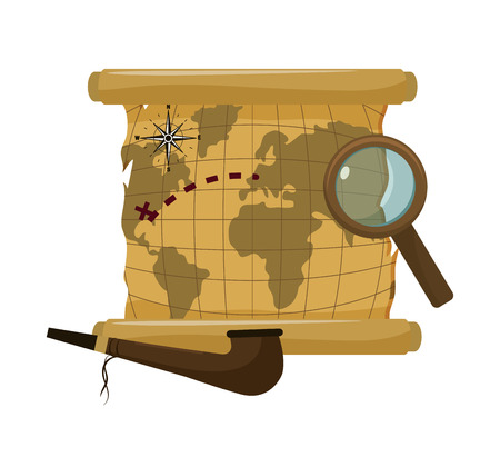 global map with magnifying glass and tabacco pipe vector illustration