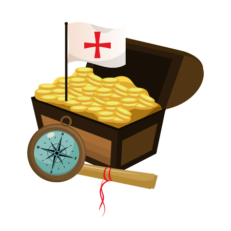 chest with gold coins and flag cross vector illustration