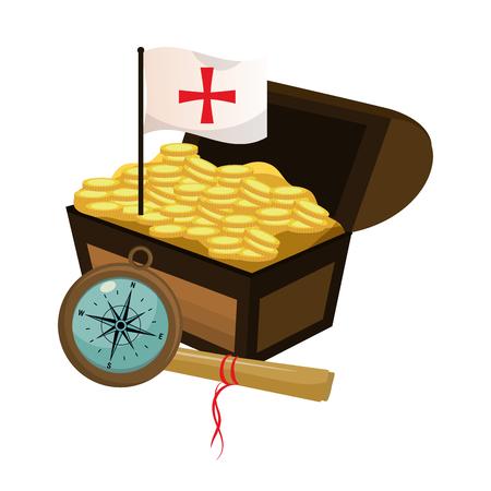 cofre con monedas de oro y bandera cruz ilustración vectorial