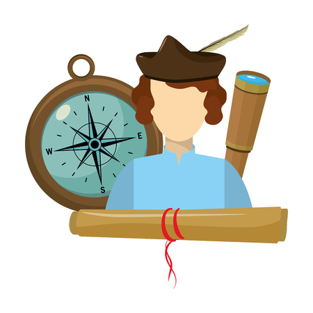 nice man with monocular and compass with parchment vector illustration