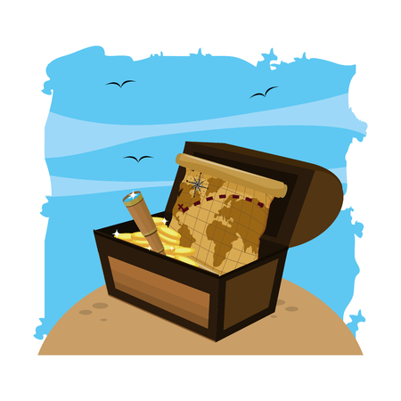 wooden chest box with global map and monocular vector illustration