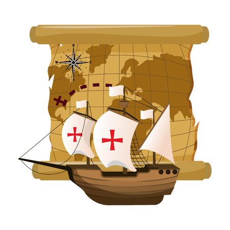 global map and ship with sails cross vector illustration