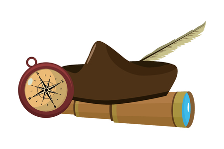 elegant hat with monocular and compass tools vector illustration Vector Illustration