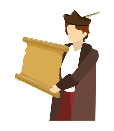 hombre, cristóbal colón, con, pergamino, estilo, vector, ilustración