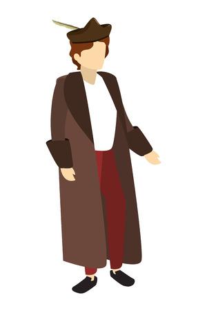 uomo christopher columbus con cappotto e cappello illustrazione vettoriale Vettoriali