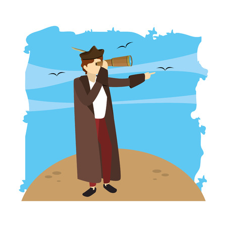 man christopher columbus with monocular in the sea vector illustration