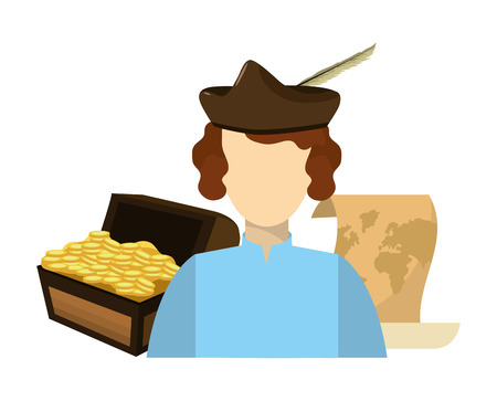 man with chest gold coins and map vector illustration