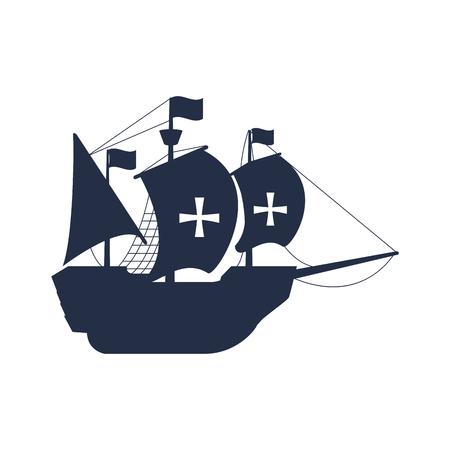 ship with sails cross transport navigate vector illustration