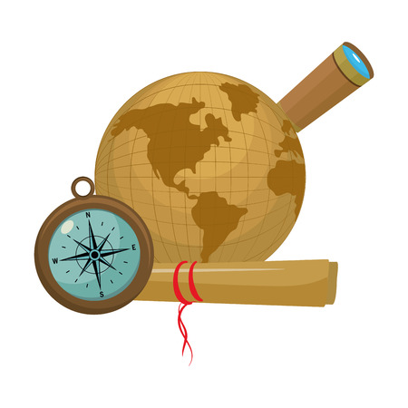 circle global map with compass and monocular vector illustration