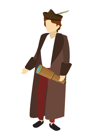 man christopher columbus with monocular and coat vector illustration