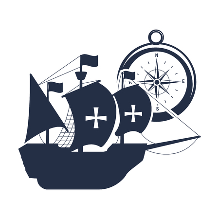 ship sails cross with flags and compass vector illustration