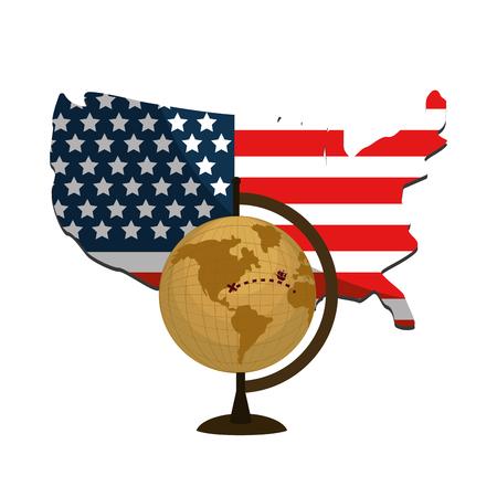 usa flag with global map desk vector illustration Vector Illustration