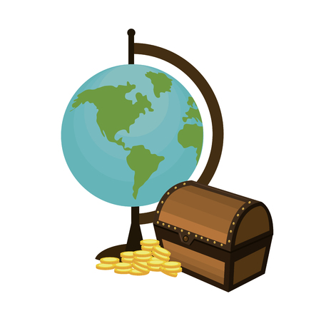 global map desk with chest and coins vector illustration Vector Illustration