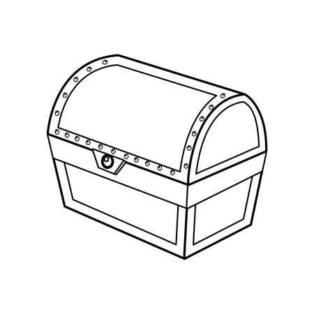 outline closed wooden chest box treasure vector illustration Illustration