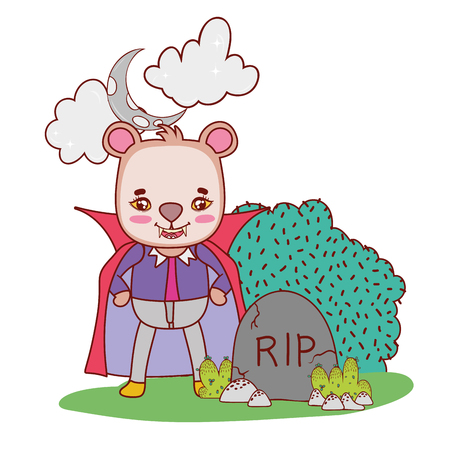 bear with dracula costume wearing cape and teeth