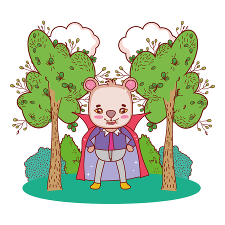 bear wearing dracula costume with teeth and cape