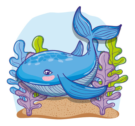 Whale undersea animal with seaweed cute cartoon vector illustration graphic design