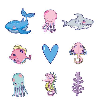 Set of sea animals cartoons collection vector illustration graphic design