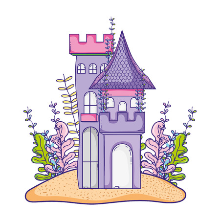 cute castle in the island with seaweed plants