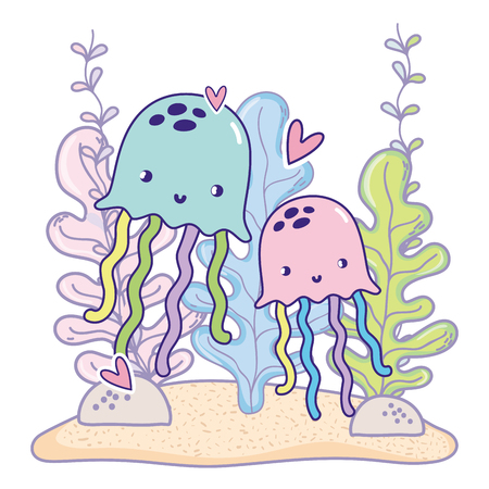 jellyfishes couple animals with hearts and seaweed plants vector illustration Stock Vector - 108448602