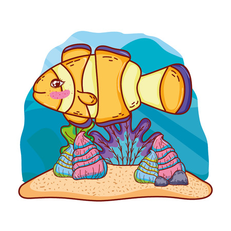 cute clownfish with shells and seaweed plants vector illustration