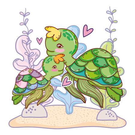 turtle family animal with seaweed plants vector illustration 向量圖像