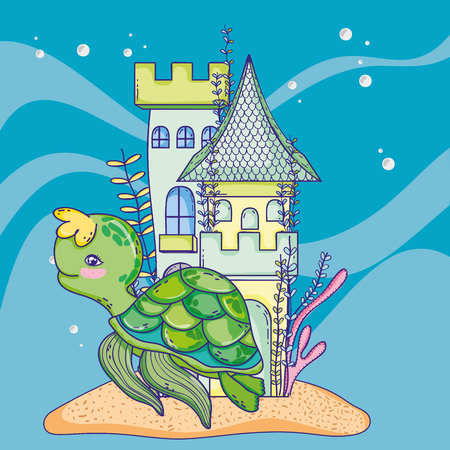 turtle animal with castle and seaweed plants Illustration