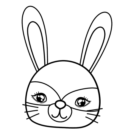 outline cute rabbit head with costume mask