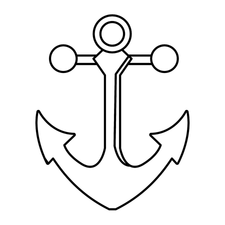outline metal anchor equipment nautical security vector illustration