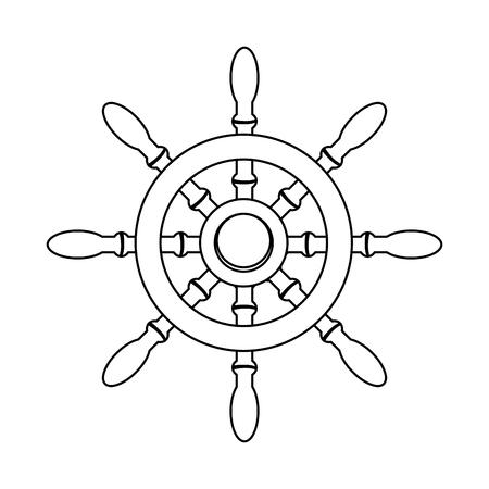outline rudder ship object to marine navigation vector illustration