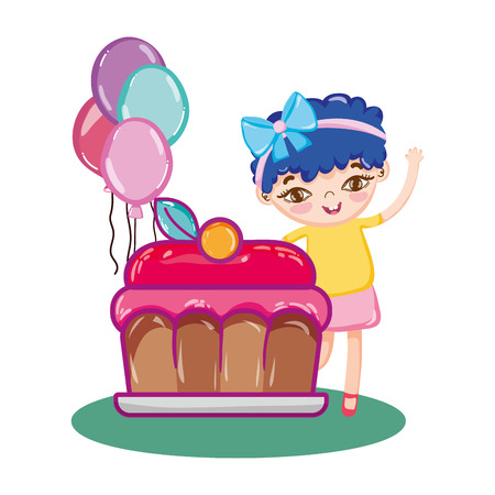 happy girl with balloons and sweet cake vector illustration