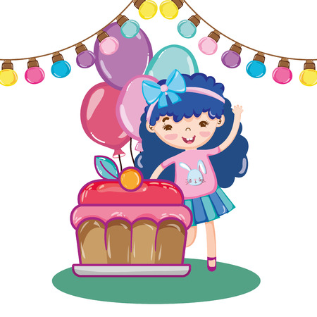 girl party with bulbs decoration and cake with balloons vector illustration Ilustração
