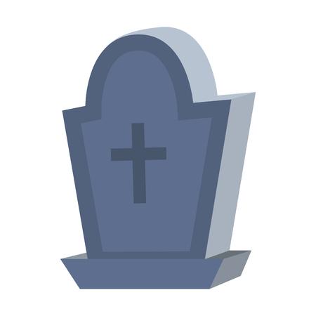 scheur stenen begraafplaats met kruis stijl vectorillustratie