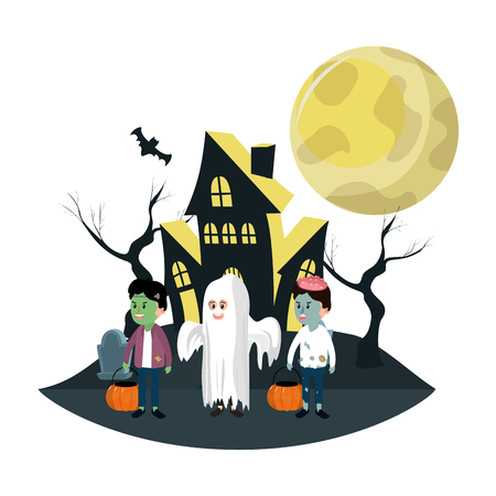 Kids with halloween costumes at haunted house cartoons vector illustration graphic design