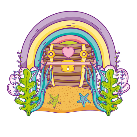 Undersea treasure with seaweed and rainbow vector illustration graphic design